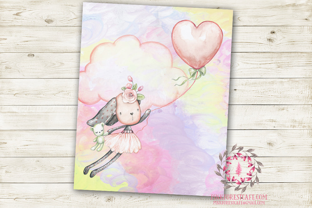 "Ethereal Woodland Boho Bunny Nursery Wall Art Print Baby Girl Rustic Balloon Bear ""Miss Skyler Pink Sky"" Printable Watercolor Mystery Fantasy Magical Decor"