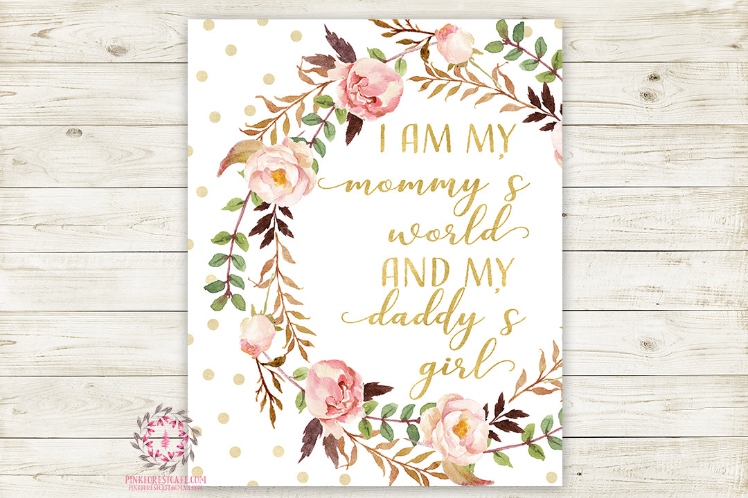 Mommy's World Daddy's Girl Boho Nursery Print Wall Art Watercolor Baby Room Printable Decor