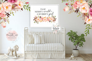 Mommy's World Daddy's Boho Wall Art Print Baby Girl Nursery Watercolor Printable Decor