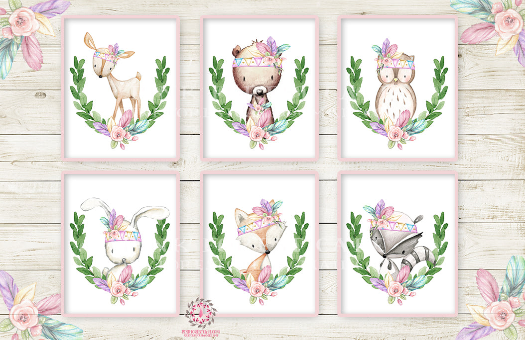6 Deer Fox Bunny Wall Art Print Nursery Feather Rabbit Bear Owl Raccoon Pink Purple Mint Tribal Printable Woodland Boho Bohemian Floral Baby Girl Room Set Lot Prints Home Decor