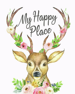 My Happy Place Woodland Boho Deer - Art Print