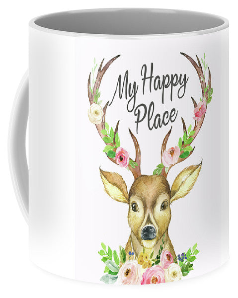 My Happy Place Woodland Boho Deer Antlers Floral Flowers Watercolor Coffee Mug Cup