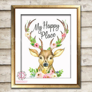Deer Boho My Happy Place Woodland Printable Wall Art Print Baby Girl Nursery Room Home Decor