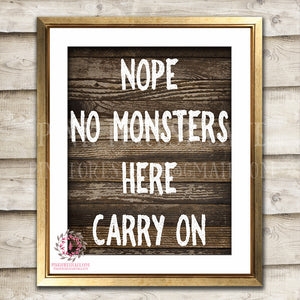 Nope No Monsters Here Carry On Printable Wall Art Nursery Kids Room Boy Decor Print