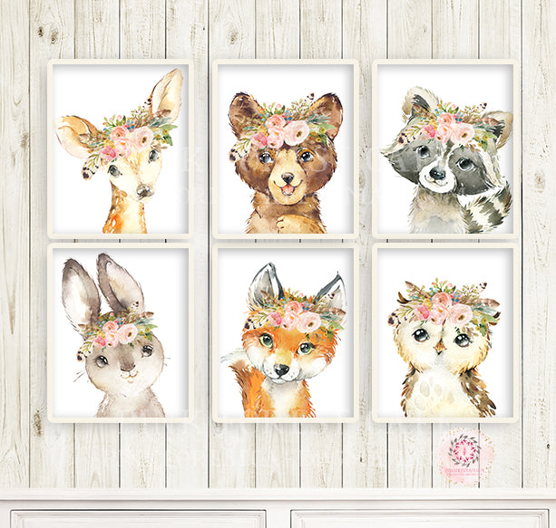 SALE 6 Boho Fox Bear Deer Bunny Wall Art Print Woodland Feather Nursery Baby Girl Room Owl Raccoon Blush Floral Bohemian Watercolor Set Prints Printable Decor