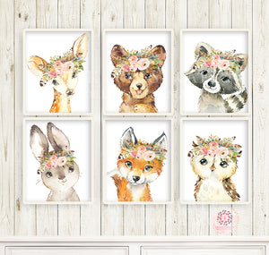 6 Boho Fox Bear Deer Bunny Wall Art Print Woodland Feather Nursery Baby Girl Room Owl Raccoon Blush Floral Bohemian Watercolor Set Prints Printable Decor