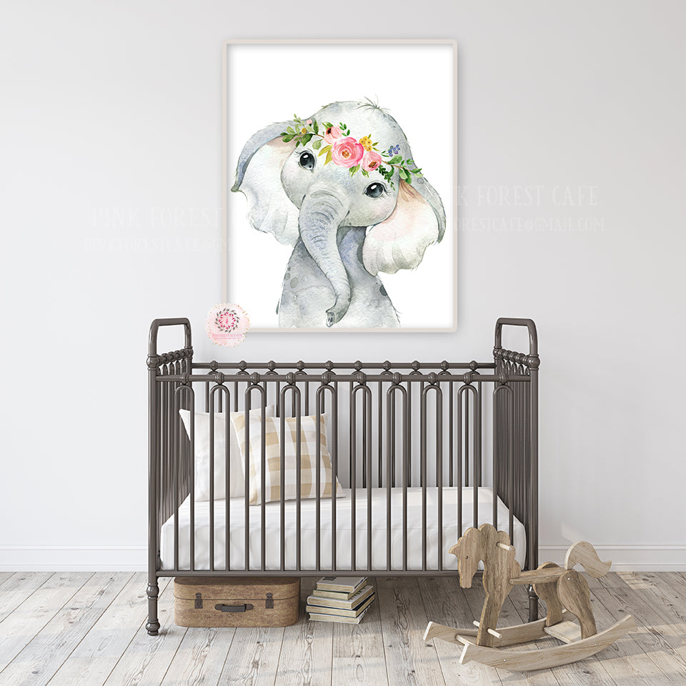 Boho Elephant Wall Art Print Nursery Baby Girl Room Floral Bohemian Watercolor Printable Decor