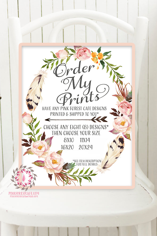 Order My Print - Pink Forest Cafe - 8 (Eight) Prints - 8 Designs Printed and Shipped
