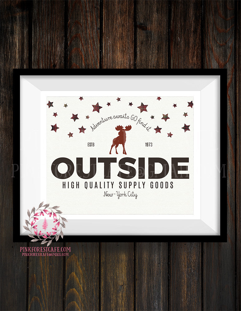 Moose Adventure Rustic Woodland Nursery Baby Boy Room Prints Printable Print Wall Art Decor