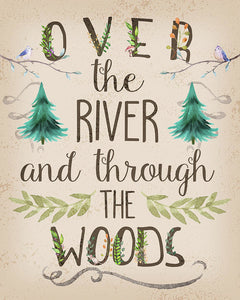 Over The River And Through The Woods Woodland Wall Art Print Baby Nursery Home Cabin Decor