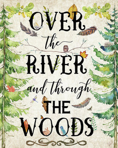 Over The River And Through The Woods Woodland Feathers Wall Art Print Baby Nursery Home Decor