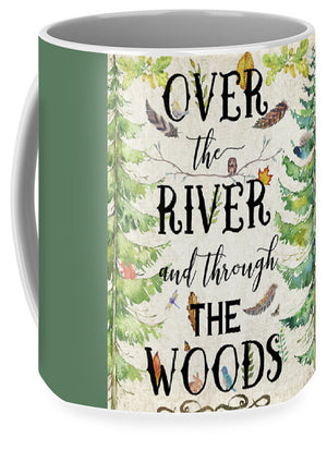 Over The River And Through The Woods Woodland Feathers Owl Dragonfly Print Coffee Cup Mug