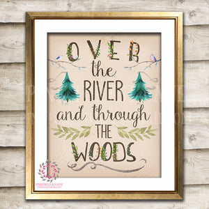 Over The River And Through The Woods Wall Art Print Woodland Rustic Nursery Printable Decor