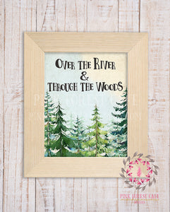 Over The River And Through The Woods Woodland Printable Wall Art Nursery Home Decor