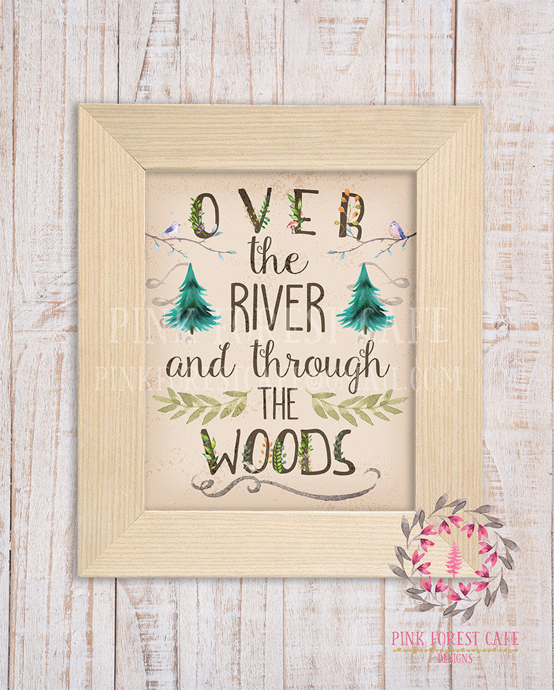 Over The River And Through The Woods Wall Art Woodland Rustic Tribal Nursery Printable Card Baby Girl Boy Shower Room Home Decor