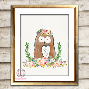 Owl Woodland Boho Bohemian Floral Nursery Baby Girl Room Printable Print Wall Art Decor