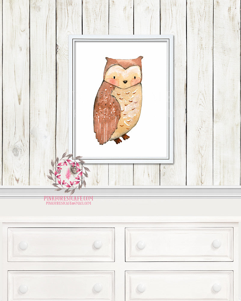 Owl Woodland Watercolor Nursery Baby Kids Room Printable Print Wall Decor