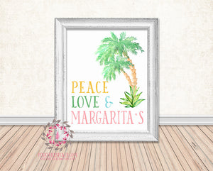 Peace Love Margaritas Watercolor Palm Tree Bar Printable Print Wall Art Poster Home Decor