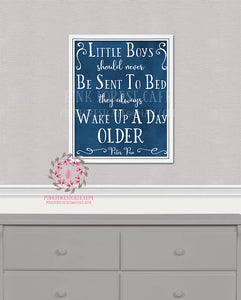 Peter Pan Neverland Little Boys Should Never Be Sent To Bed Quote Printable Wall Art Print Baby Boy Nursery Home Decor