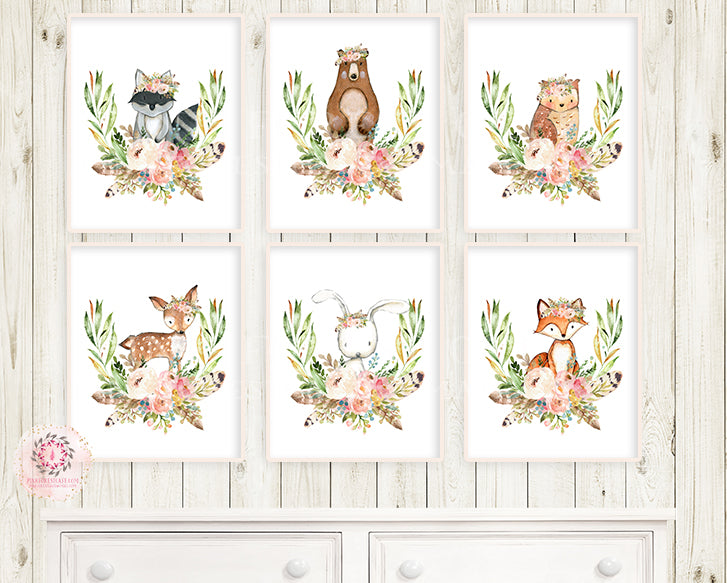 6 Bunny Bear Deer Wall Art Print Fox Woodland Boho Feather Bohemian Blush Floral Nursery Baby Girl Room Lot Set Prints Printable Decor