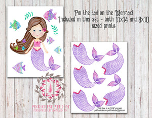 Mermaid Theme Girls Birthday Party Printable Pin The Tail On The Mermaid (Donkey) Game