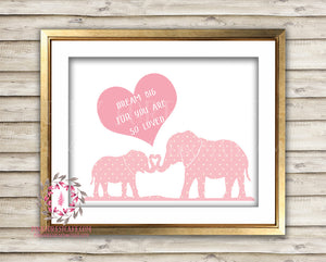 Pink Boho Elephant Zoo Printable Print Wall Art Baby Nursery Home Decor