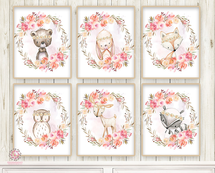 6 Deer Bunny Bear Fox Ethereal Wall Art Print Nursery Woodland Boho Baby Girl Room Set Lot Prints Printable Home Decor