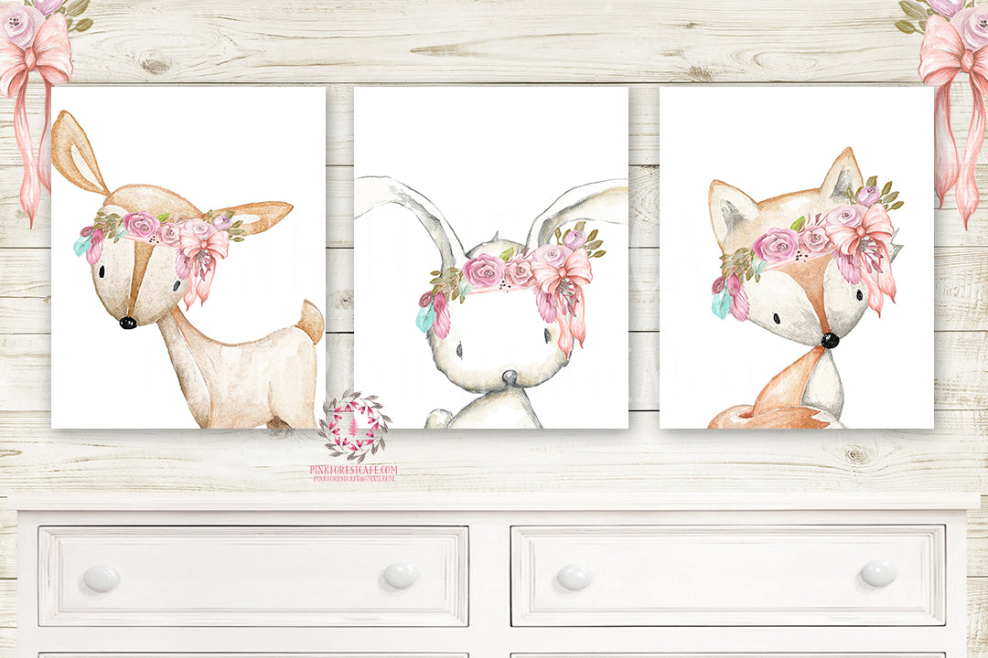 3 Deer Fox Bunny Rabbit Pink Feather Wall Art Print Woodland Boho Bohemian Nursery Baby Girl Room Set Lot Prints Printable Decor