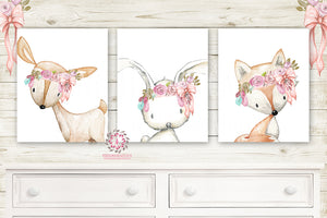 Bunny Rabbit Deer Fox Boho Wall Art Prints Nursery Woodland Pink Feather Floral Bohemian Floral Girls Baby Kids Room Bedroom Decor Print Set Of 3