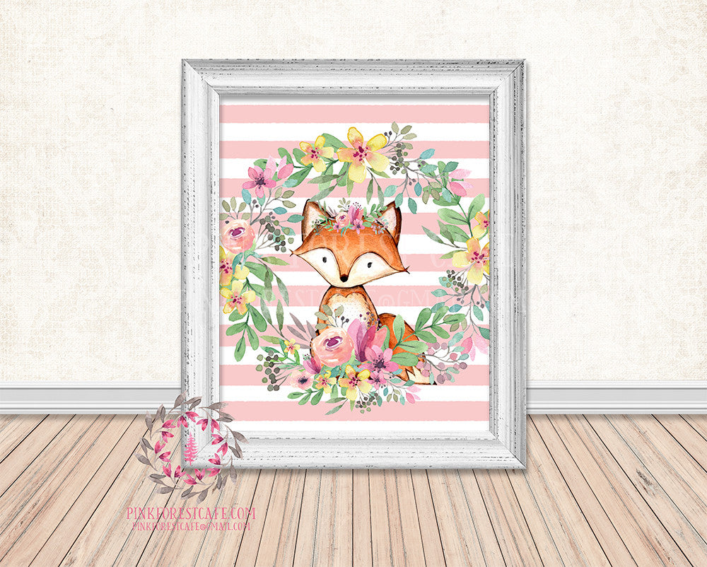 Fox Woodland Boho Floral Nursery Baby Girl Printable Print Wall Art Decor