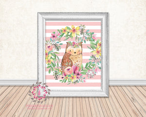 Wise Owl Woodland Boho Floral Nursery Baby Girl Printable Print Wall Art Decor