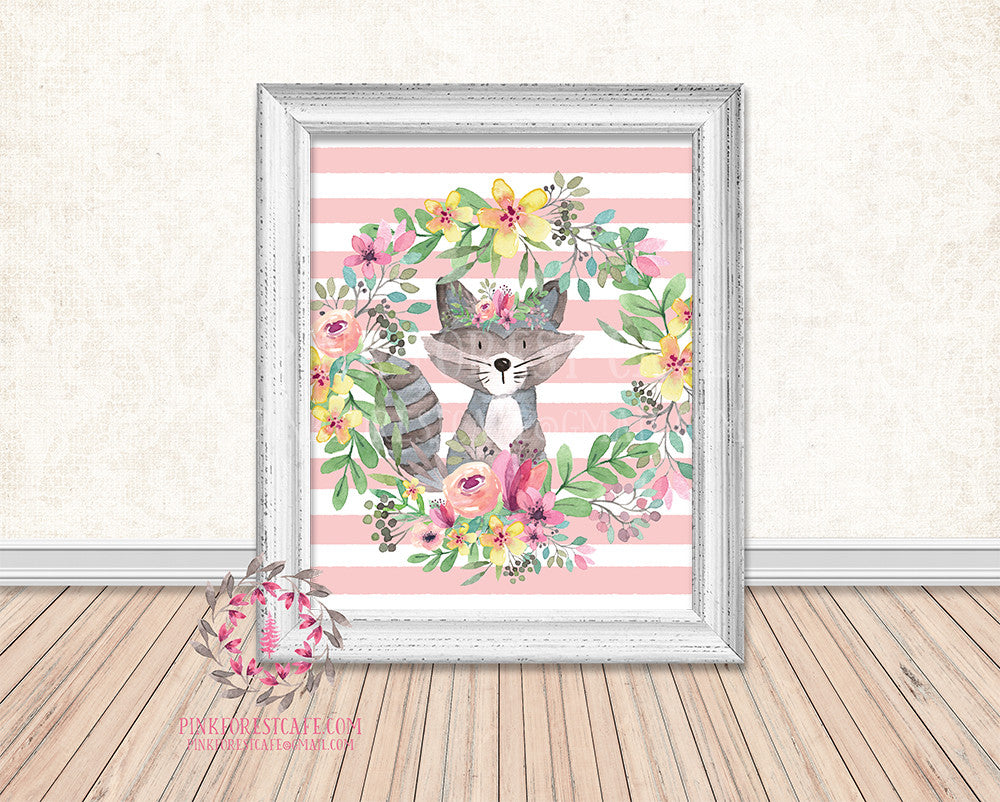 Boho Raccoon Woodland Printable Print Wall Art Watercolor Baby Nursery Decor