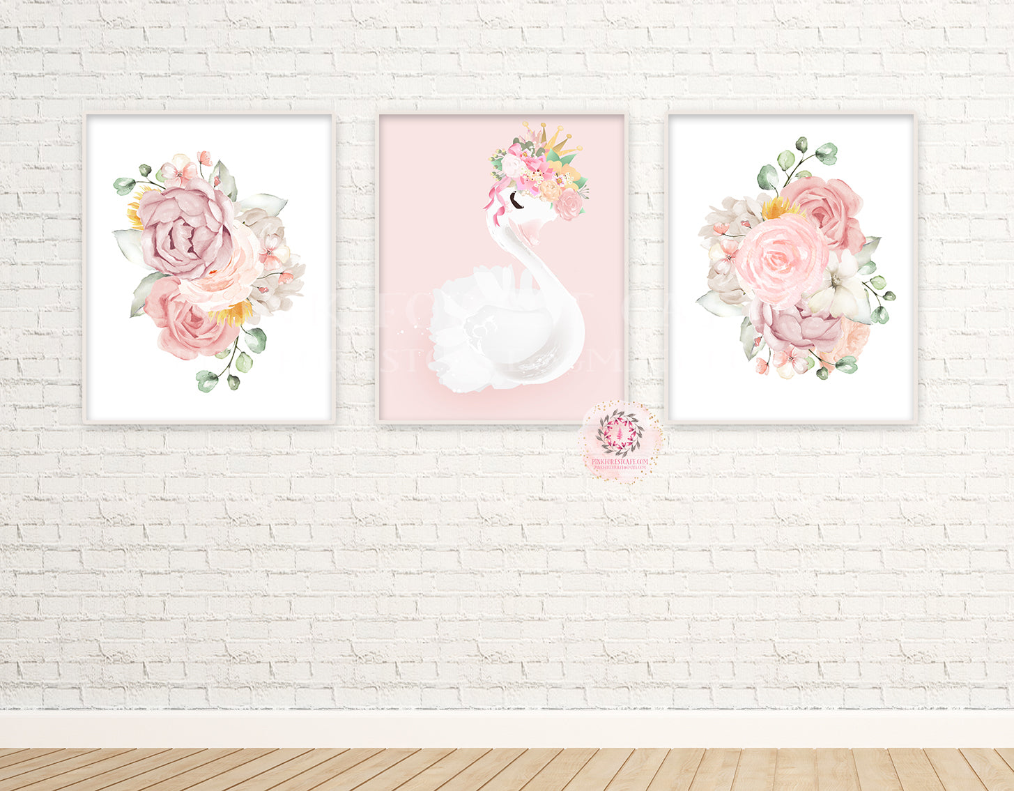 3 Boho Swan Baby Girl Nursery Wall Art Print Ethereal Pink Blush Peonies Whimsical Floral Printable Peony Decor