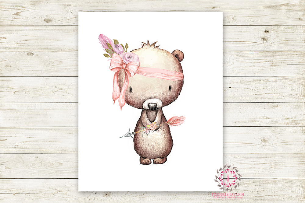 Boho Pink Bear Wall Art Print Woodland Bohemian Floral Nursery Baby Girl Room Arrow Printable Decor
