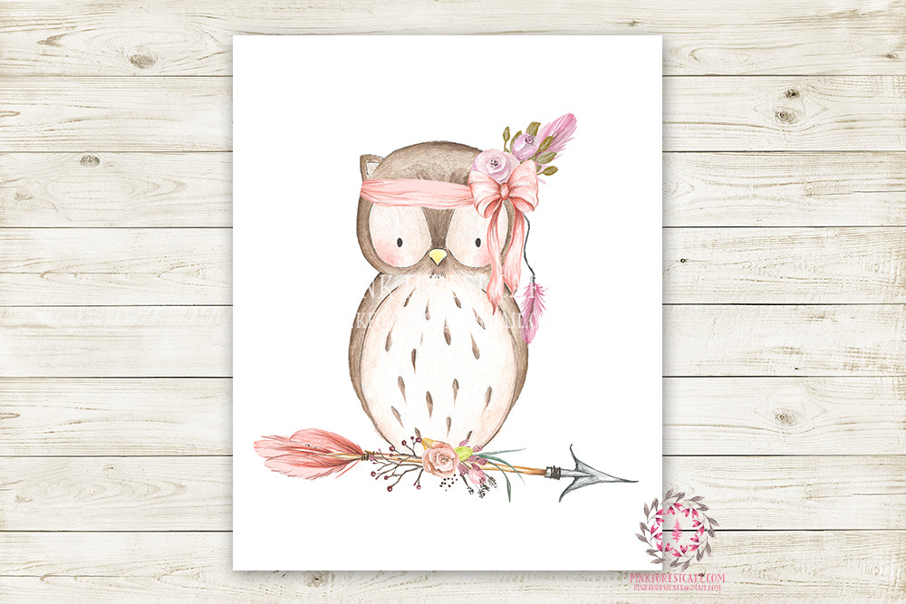 Boho Pink Owl Wall Art Print Woodland Bohemian Floral Nursery Baby Girl Room Arrow Printable Decor