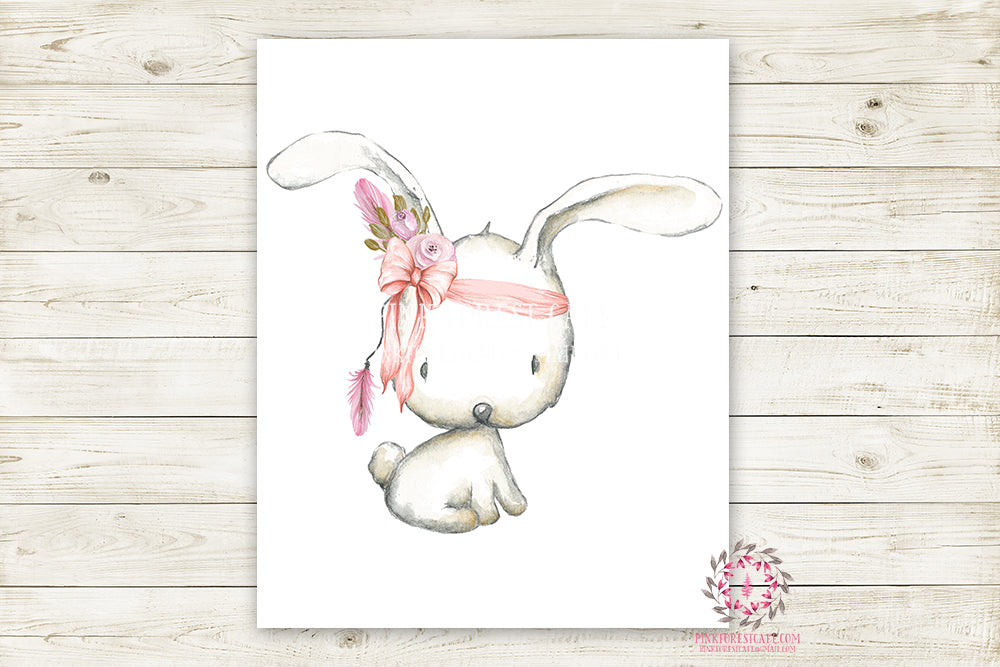 Boho Pink Bunny Rabbit Wall Art Print Woodland Bohemian Floral Nursery Baby Girl Room Arrow Printable Decor