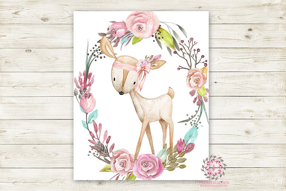 Boho Pink Deer Wall Art Print Woodland Bohemian Floral Nursery Baby Girl Room Arrow Printable Decor