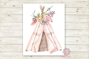 Boho Pink Teepee Wall Art Print Woodland Bohemian Floral Nursery Baby Girl Room Arrow Printable Decor
