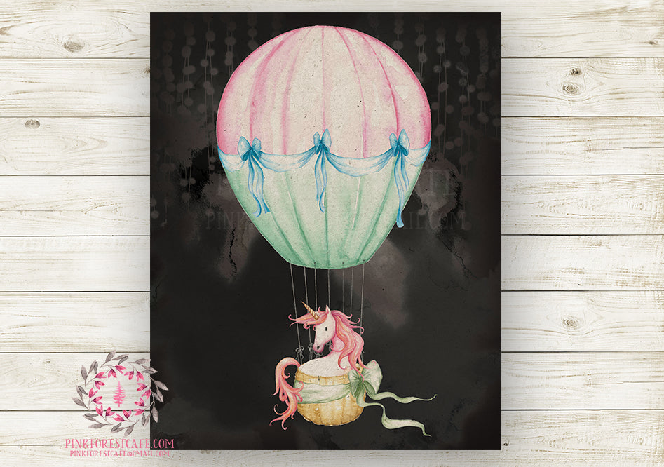 Unicorn Nursery Wall Art Print Baby Girl Ethereal Pink Hot Air Balloon Rustic Printable Watercolor Mystery Fantasy Magical Carnival Decor