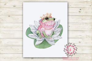 Ethereal Boho Princess Frog Crown Nursery Wall Art Print Baby Girl Printable Watercolor Mystery Fantasy Magical Decor