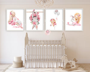 4 Ballerina Bunny Rabbit Baby Girl Nursery Wall Art Print Ethereal Ballet Dancer Whimsical Balloons Watercolor Bohemian Floral Set Lot Prints Printable Decor