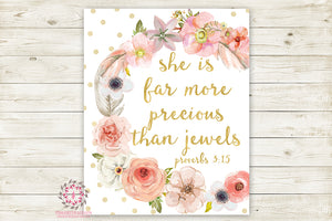 Boho She Is Far More Precious Than Jewels Wall Art Print Baby Nursery Proverbs 3:15 Bible Verse Home Printable Decor