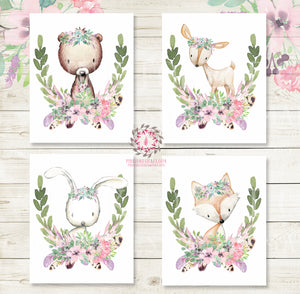 Bunny Bear Deer Fox Woodland Boho Wall Art Prints Purple Mint Feather Floral Nursery Baby Girl Room Lot Set 4 Bohemian Prints Printable Decor