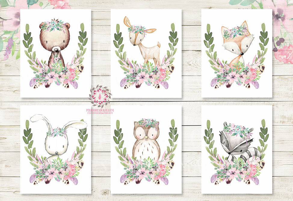 Boho Bunny Bear Deer Fox Purple Floral Nursery Wall Art Woodland Feather Prints Bohemian Baby Room Owl Home Decor Print Set Of 6