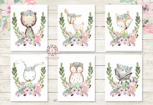 Bunny Bear Deer Fox Nursery Wall Art Woodland Boho Feather Prints Purple Aqua Mint Bohemian Floral Baby Room Raccoon Owl Wall Art Home Decor Print Set Of 6