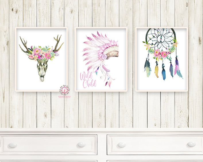 3 Dreamcatcher Deer Skull Headress Boho Purple Feather Nursery Wall Art Print Tribal Watercolor Floral Baby Girl Room Printable Home Decor