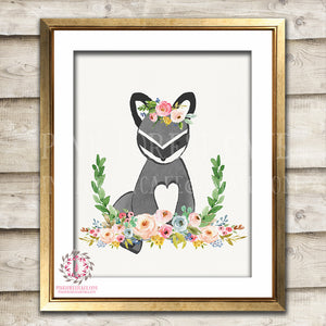 Raccoon Woodland Boho Bohemian Floral Nursery Baby Girl Room Printable Print Wall Art Decor