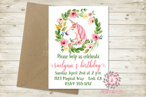 Girl Birthday Party Invite Invitation Unicorn Bridal Baby Shower Save The Date Announcement Watercolor Floral Printable Art