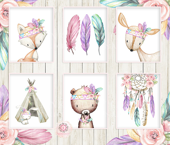 7 Deer Fox Bunny Bear Wall Art Print Dreamcatcher Teepee Feather Nursery Rainbow Pink Purple Mint Tribal Printable Woodland Boho Bohemian Floral Baby Girl Room Set Lot Prints Printable Decor