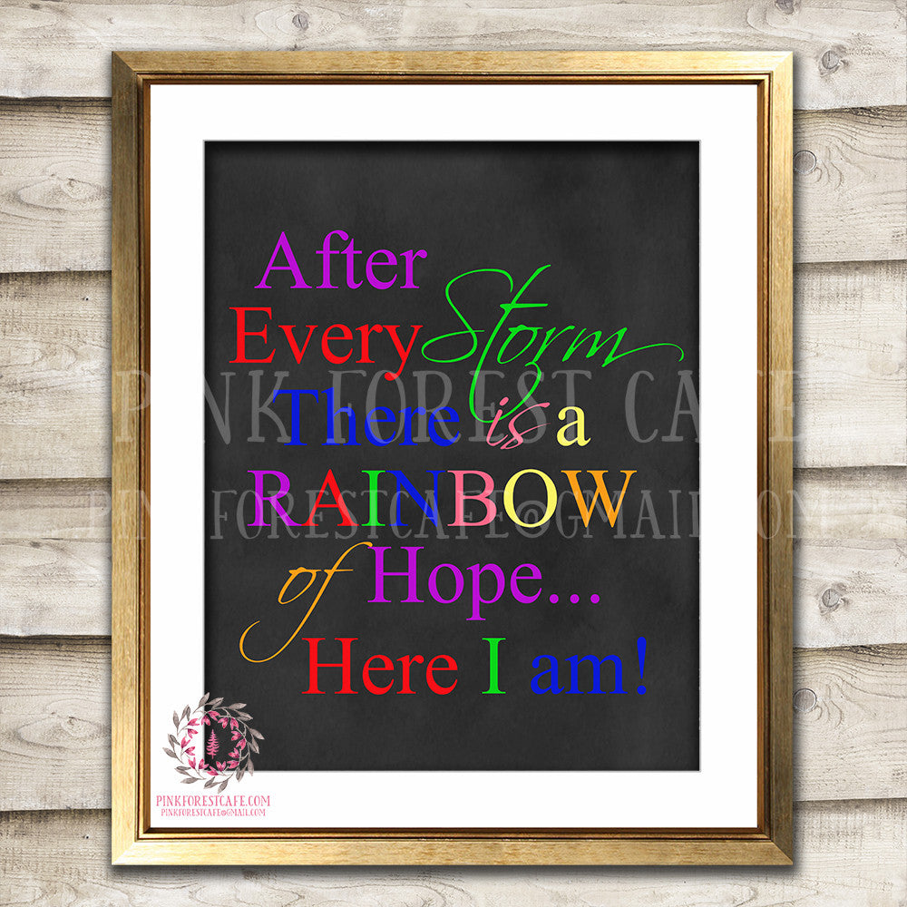 Rainbow Quote Baby Girl Boy Room Printable Wall Art Nursery Decor Print
